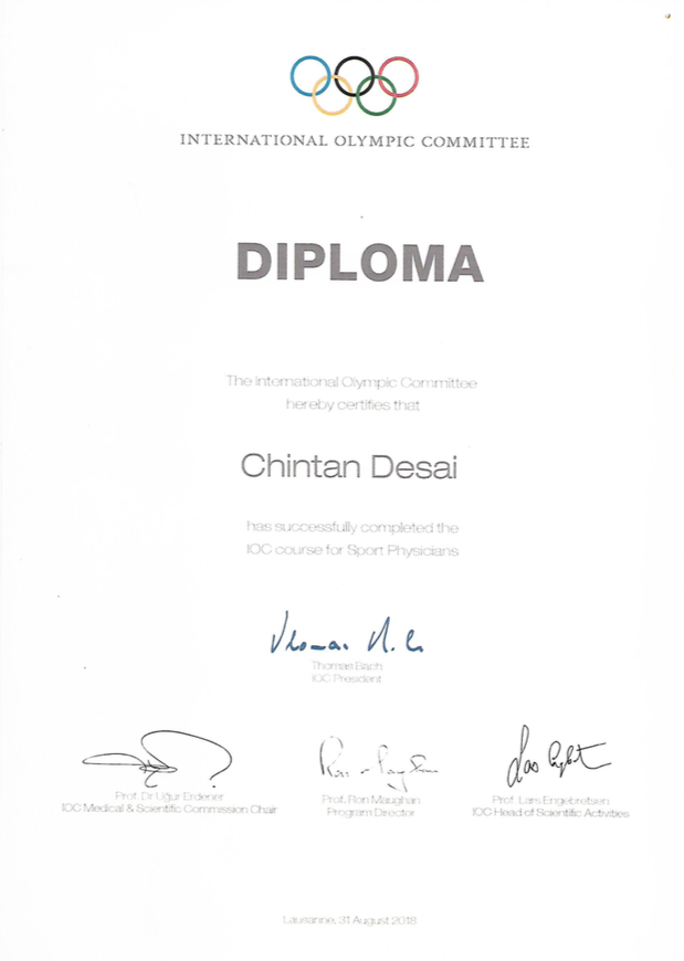 Dr. Chintan Desai is a certified sport physician by the International Olympic Committee
